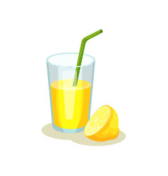 glass with lemonade and drinking straw half of vector image
