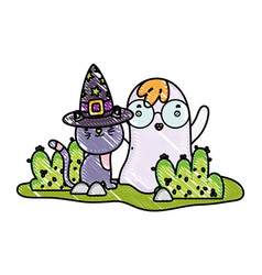Grated cute cat with hat and ghost wearing glasses vector