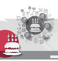 Hand drawn birthday pie icons with icons vector image