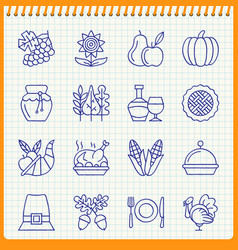 Handwritten pen thanksgiving day line icon set vector