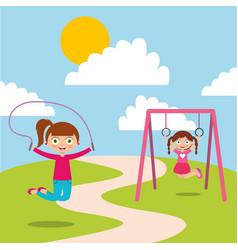 happy kids playing jum rope and bar monkey enjoy vector image