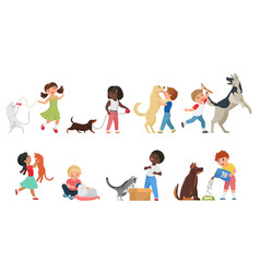 happy pet owner kids play with own animals vector image