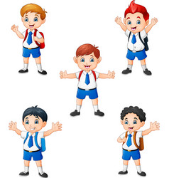 happy school boys in different posing vector image