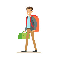 Happy young man traveler standing with backpack vector