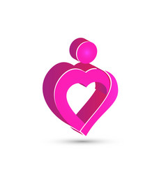Heart pink people figure abstract logo vector
