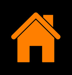 home silhouette orange icon on black vector image