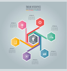 Infographic business concept with 6 options vector