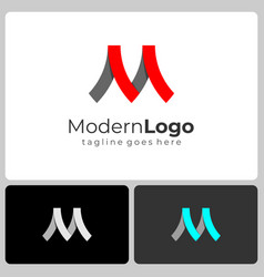 initial letter m logo three colors ribbon business vector image