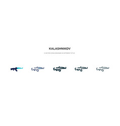 Kalashnikov icon in different style two colored vector