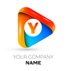 Letter y symbol in the colorful triangle vector