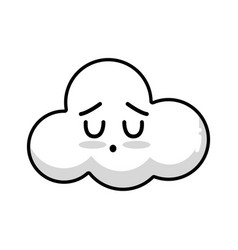 Line kawaii cute tender cloud weather vector