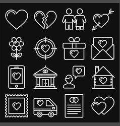 love icons set on black background line style vector image