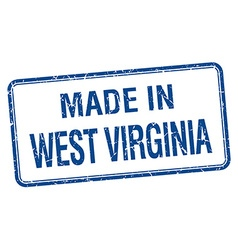 Made in West Virginia blue square isolated stamp vector
