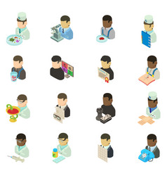 Medical personnel icons set isometric style vector