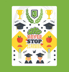 Motivational typographic poster about education vector