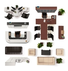Office interior elements top view set vector