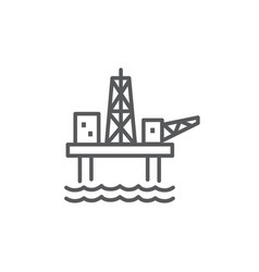 oil platform line icon on white background vector image