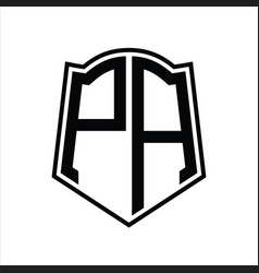 Pa logo monogram with shield shape outline design vector