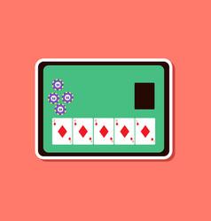 Paper sticker on stylish background poker board vector