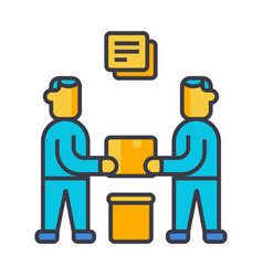 partnership contract signing flat line vector image