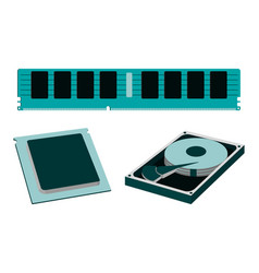Parts for personal pc icon hdd ram cpu vector