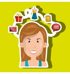 Person with set icons commerce isolated design vector