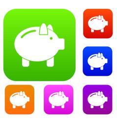 Piggy bank set collection vector