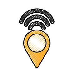 Pointer with waves wifi vector