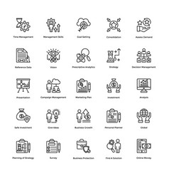 Project management line icons set 13 vector