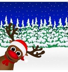 Reindeer peeking sideways in the forest vector image