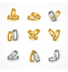 rings set made silver and gold vector image