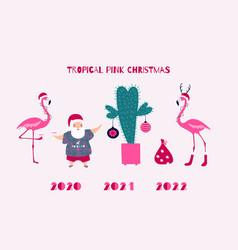 santa and flamingo tropical christmas card vector image
