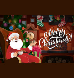 Santa with christmas tree gifts and fireplace vector