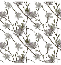 seamless pattern of the branches and flowers vector image