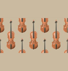 Seamless pattern with realistic wooden violin vector