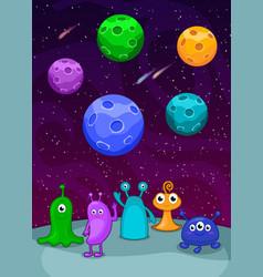 Set colorful aliens vector