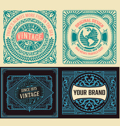 set of 4 vintage labels vector image