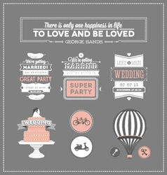 Set of design elements for wedding vector