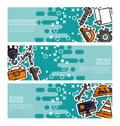 set of horizontal banners about engineering vector image