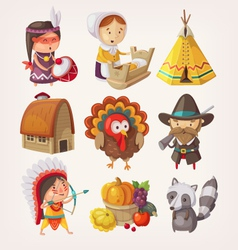 set thanksgiving items and characters vector image