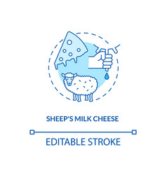 Sheep milk cheese turquoise concept icon vector