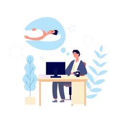 sleepy man guy wishing sleep at office in morning vector image
