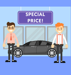 special price for auto concept with car salesmen vector image