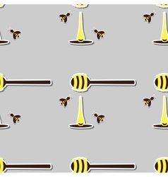 Spoon With Honey And Bees vector