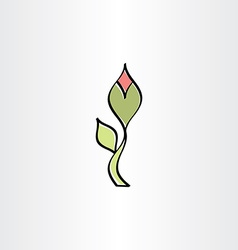 stylised flower with outline icon vector image