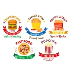 Takeaway meal symbols for fast food design vector
