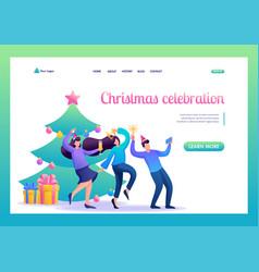 teenagers have fun near christmas tree vector image