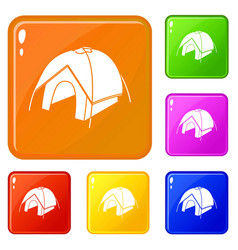 tent icons set color vector image