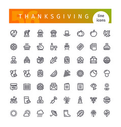 Thanksgiving line icons set vector