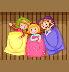 Three girls getting ready for bed vector